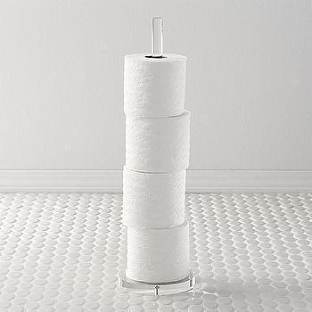 Bath - acrylic toilet paper storage tower   CB2 - acrylic toilet roll holder, acrylic toilet paper storage, acrylic toilet roll floor stand,