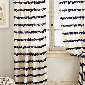 Window Treatments - Swing Stripes Curtain I anthropologie.com - pom pom striped drapes, navy pom pom drapes, pom pom striped curtains,