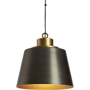 Lighting - liberty pendant | CB2 - black and brass pendant light, modern black and brass pendant, black pendant with brass interior,