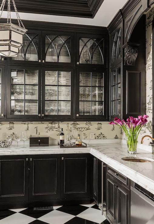 black kitchen cabinets  asian  kitchen  terrat elms