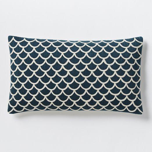 Scalloped Crewel Pillow Cover Blue Lagoon West Elm: west elm pillows