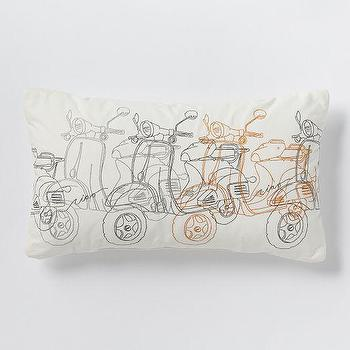 Pillows - Embroidered Scooter Pillow Stone White | West Elm - scooter print pillow, scooter illustration pillow, retro scooter pillow,