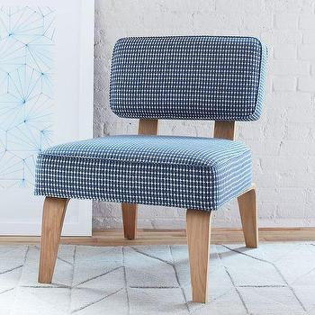 Seating - Bentwood Slipper Chair Prints | West Elm - blue mid century slipper chair, mid century style chair, modern armless slipper chair,
