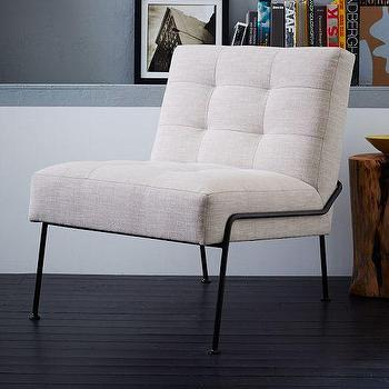 Seating - Oswald Tufted Slipper Chair | West Elm - tufted modern slipper chair, metal based slipper chair, buttonless tufted slipper chair,