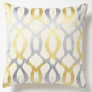 Pillows - Embroidered Ikat Links Pillow Cover Horseradish | West Elm - silver and gold ikat pillow, gold and silver trellis pillow, gold and silver metallic pillow,