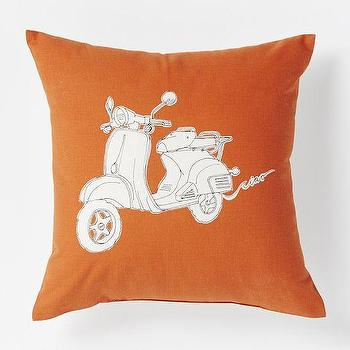 Pillows - Scooter Pillow - Mandarin | West Elm - scooter print pillow, orange scooter pillow, retro scooter print pillow,