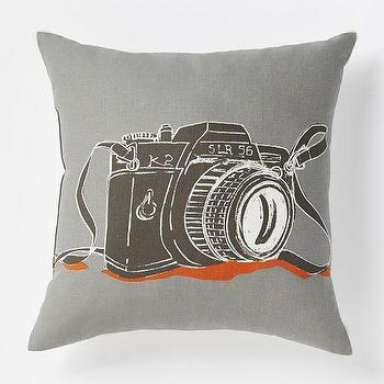 Pillows - Snap Shot Pillow | West Elm - gray camera pillow, camera print pillow, camera pattern pillow,