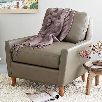 Seating - Everett Leather Chair | West Elm - gray leather armchair, modern gray leather armchair, mid century style leather chair,