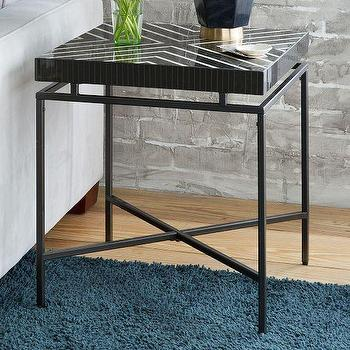 Tables - Linear Tile Side Table | West Elm - black and ivory tiled side table, deco style side table, geometric topped side table,