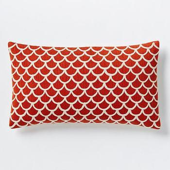 Pillows - Scalloped Crewel Pillow Cover - Cayenne | West Elm - red and white fish scale pillow, red scallop pillow, red and ivory scale print pillow,