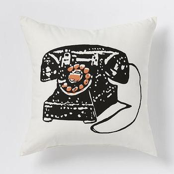 Pillows - Telephone Pillow | West Elm - telephone print pillow, vintage telephone print pillow, retro telephone print pillow,