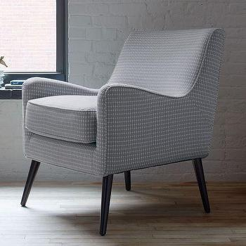 Seating - Book Nook Armchair Rectangle Print | West Elm - retro gray armchair, gray armchair with tapered legs, retro curved armchair,