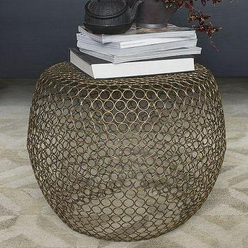 Tables - Marlow Round Ring Side Table | West Elm - metal ring accent table, metal ring drum table, metal circles side table,