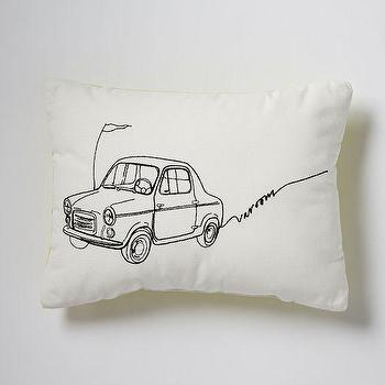 Pillows - Embroidered Varoom Pillow | West Elm - retro car pillow, car illustration pillow, embroidered car print pillow,