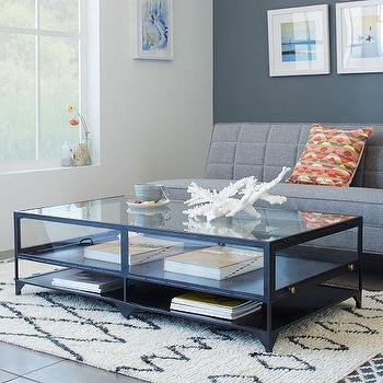 Tables - Shadow Box Coffee Table | West Elm - shadow box coffee table, metal and glass display coffee table, iron and glass storage coffee table,
