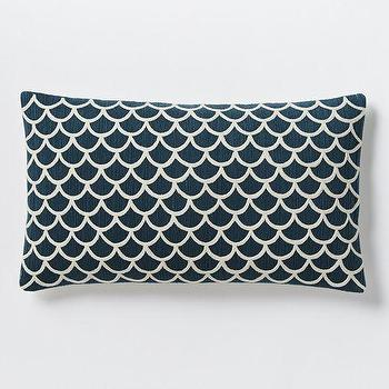 Pillows - Scalloped Crewel Pillow Cover Blue Lagoon | West Elm - dark teal pillow, dark teal lumbar pillow, dark teal scalloped pillow, dark teal crewel pillow,