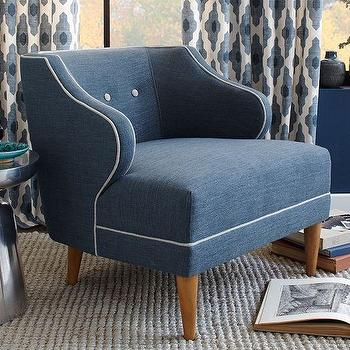 Seating - Captain's Chair | West Elm - blue chair with white piping, modern blue tufted armchair, blue armchair with white trim,