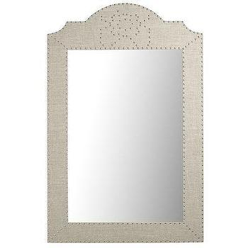 Mirrors - Lexford Mirror I Pier One - linen arched mirror, linen nailhead trim mirror, upholstered mirror with nailhead trim,