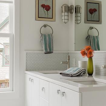Gray Hex Tile Backsplash, Contemporary, bathroom, Terrat Elms Interior Design