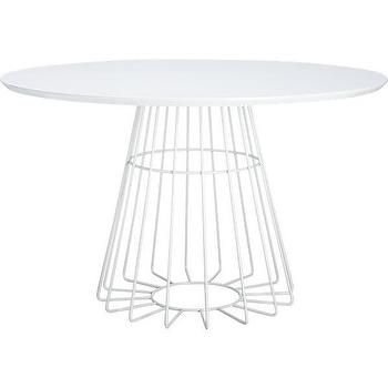 Tables - compass dining table | CB2 - white wire dining table, steel pedestal dining table, modern white round dining table,