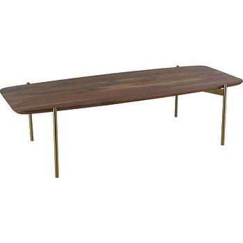 Tables - adam coffee table | CB2 - modern acacia wood coffee table, wood coffee with brass legs, acacia wood coffee table,