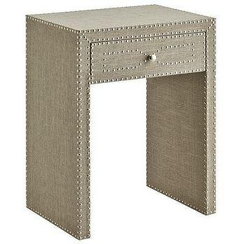 Storage Furniture - Lexford End Table I Pier One - linen single drawer end table, upholstered linen end table, upholstered end table with nailhead trim,