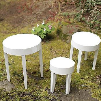 Tables - Sterling Side Tables - Set of 3 | HomeDecorators.com - white lacquer side tables, white lacquered side tables, white lacquer nesting tables,
