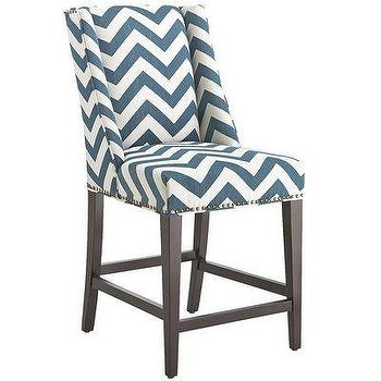 Seating - Owen Counterstool - Vibes Teal I Pier One - teal and white chevron counter stool, teal chevron counter stool, teal wing back counter stool,
