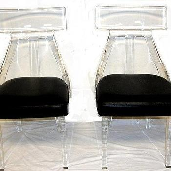 Seating - Lucite Acrylic Vintage Chair by SwansonLaneHome I Etsy - vintage lucite chair, vintage acrylic chair, lucite and pleather chair,