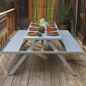 Tables - a frame picnic table | CB2 - modern picnic table, aluminum picnic table, metal picnic table,