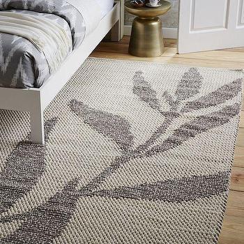Rugs - Carla Peters Shadow Leaf Wool Rug | West Elm - gray leaf print rug, gray leaf patterned rug, gray and beige leaf print rug,
