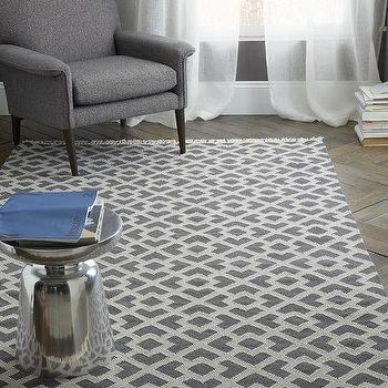 Rugs - Metallic Diamond Kilim - Slate | West Elm - gray geometric rug, gray diamond kilim rug, diamond geometric patterned rug,