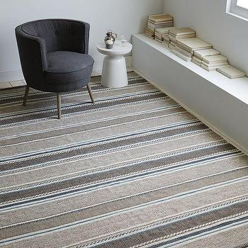 Steven Alan Textured Stripe Dhurrie Rug, Heather Gray/Sea Isle, West Elm
