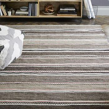 Steven Alan Textured Stripe Dhurrie Rug, Slate/Rose Bique, West Elm