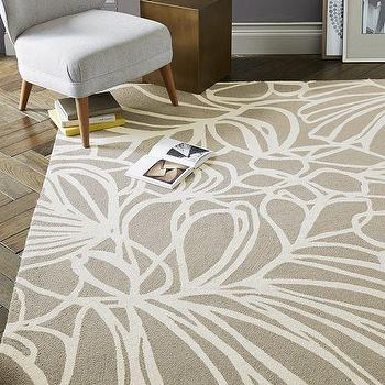 Rugs - Sketch Wool Rug - Flax | West Elm - beige abstract floral rug, beige abstract rug, beige and ivory abstract rug,