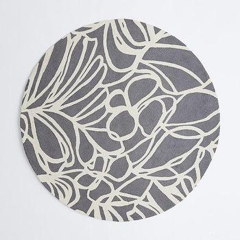 Rugs - Sketch Round Wool Rug - Steel | West Elm - gray abstract print rug, round gray abstract rug, round gray floral rug,