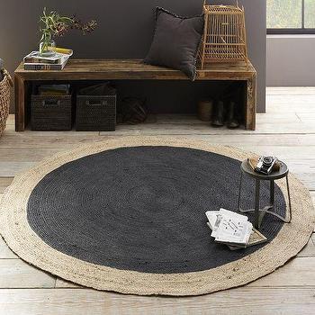 Rugs - Bordered Round Jute Rug - Slate | West Elm - round jute rug, black round jute rug, bordered round jute rug,