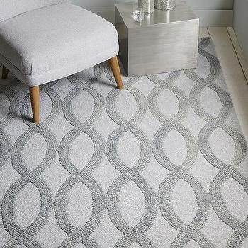 Rugs - Linking Loops Wool Rug - Frost Gray | West Elm - gray linking loops gray, gray and ivory geometric rug, gray interlocking loops rug,