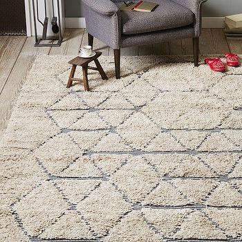 Rugs - Carla Peters Geo Line Wool Shag Rug | West Elm - patterned shag rug, geometric shag rug, retro shag rug,