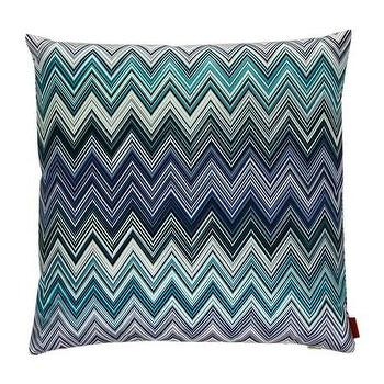 Pillows - Missoni Home Jarris Cushion | Amara - blue chevron pillow, teal chevron pillow, blue missoni zigzag pillow,