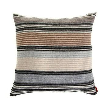 Pillows - Missoni Home Erode Cushion | Amara - neutral striped pillow, black gray and cream striped pillow, missoni striped pillow,