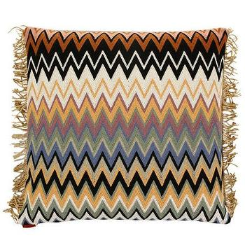 Pillows - Missoni Home Margot Cushion | Amara - missoni chevron pillow, missoni chevron fringed pillow, multi colored chevron missoni pillow,