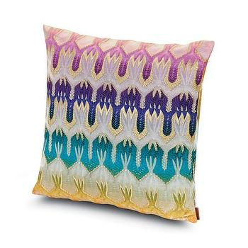 Pillows - Missoni Home Pasadena Cushion | Amara - jewel toned pillow, jewel tone lace pillow, missoni print pillow, purple and teal pillow,