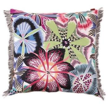 Pillows - Missoni Home Passiflora Cushion | Amara - purple and bblue floral pillow, floral fringed pillow, botanical missoni pillow,