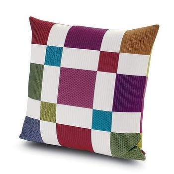 Pillows - Missoni Home Pittsburgh Cushion | Amara - multi colored chequered pillow, modern checkered pillow, purple and green checkered pillow,