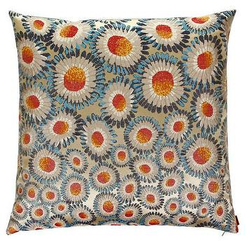 Pillows - Missoni Home Oriana Cushion | Amara - daisy print pillow, blue and orange daisy pillow, blue and orange floral pillow,