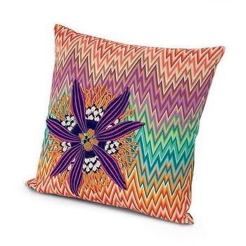Pillows - Missoni Home Narboneta Embroidered Cushion | Amara - zigzag floral pillow, multi colored chevron flower pillow, zigzag flower pillow,