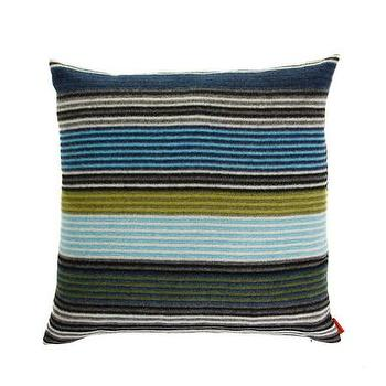 Pillows - Missoni Home Erode Cushion | Amara - gray blue green striped pillow, striped missoni pillow, gray and blue striped pillow,