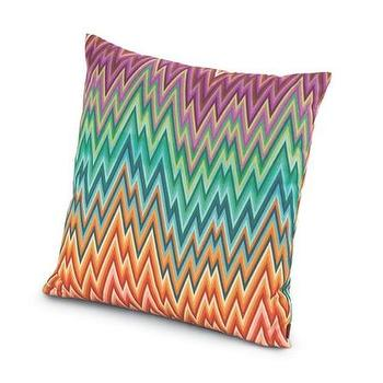 Pillows - Missoni Home Narboneta Cushion | Amara - purple green and orange zigzag pillow, purple green and orange modern pillow, missoni zigzag pillow, multi colored zigzag pillow,