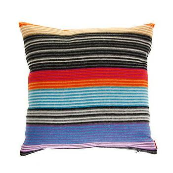 Pillows - Missoni Home Erode Cushion | Amara - black orange and blue striped pillow, multi colored striped pillow, missoni striped pillow,